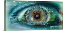 Close up of an eye with tech diagrams in abstract