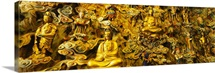 Close-up of golden statues, Longhua Temple, Shanghai, China