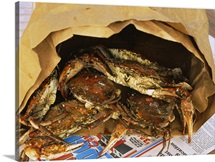 Close-up of steamed crabs in a paper bag, Maryland