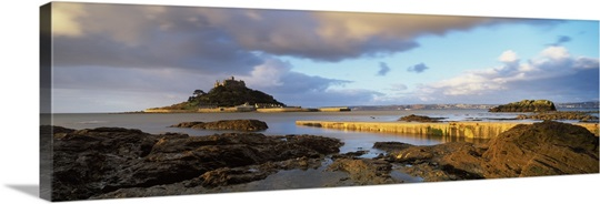 Clouds over a church, St. Michael's Mount, Mount's Bay, Marazion, Cornwall, England