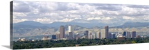 Clouds over skyline and mountains, Denver, Colorado