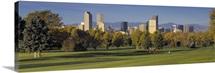 Colorado, Denver, panoramic view of skyscrapers around a golf course