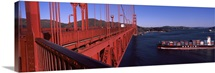 Container ship passing under a suspension bridge Golden Gate Bridge San Francisco Bay San Francisco California