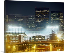 Coors Field lit up at night, Denver, Colorado