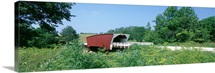 Covered bridge in a forest, Cedar covered bridge, Madison County, Iowa