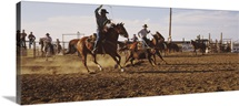 Cowboys roping a calf, North Dakota