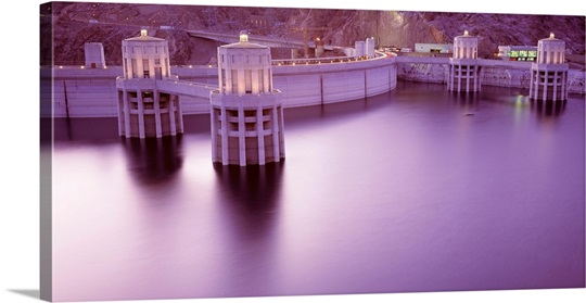 Dam on a lake, Hoover Dam, Lake Mead, Mohave County, Nevada