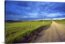 Dirt road through farmland, distant storm clouds, Missouri Breaks, Montana