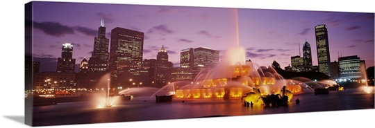 Dusk Buckingham Fountain Chicago IL USA