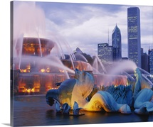 Fountains lit up at dusk, Buckingham Fountain, Grant Park, Chicago, Illinois