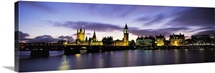 Government buildings lit up at night, Big Ben, Houses of Parliament, Thames River, City Of Westminster, London, England