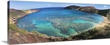 High angle view of a beach, Hanauma Bay, Oahu, Hawaii
