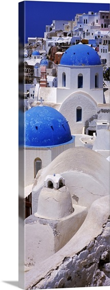 High angle view of a church, Oia, Santorini, Greece