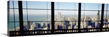 High angle view of a city as seen through a window, Chicago, Illinois