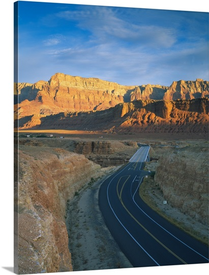 High angle view of a highway passing through a mountain range, Marble Canyon, U.S. Route 89, Vermilion Cliffs, Coconino County, Arizona