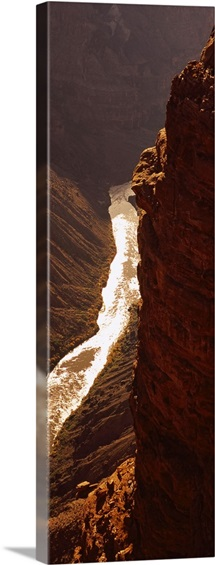 High angle view of a river passing through a canyon, Colorado River, North Rim, Toroweap, Grand Canyon National Park, Utah