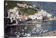 High angle view of a town, Amalfi Coast, Campania, Italy
