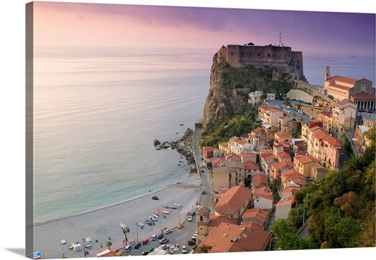High angle view of a town and a castle on a cliff, Castello Ruffo, Scilla, Calabria, Italy
