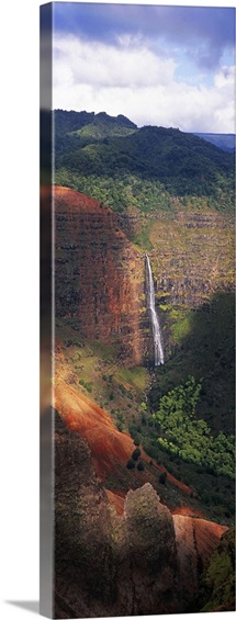 High angle view of a waterfall, Waimea Canyon, Waipoo Falls, Kauai, Hawaii