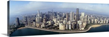 High angle view of buildings at the waterfront, Chicago, Illinois