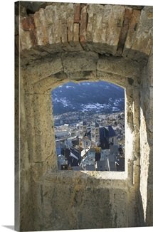 High angle view of buildings in a town viewed through a window, French Alps, Briancon, Provence-Alpes-Cote d'Azur, France