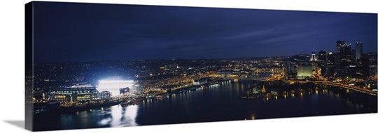 High angle view of buildings lit up at night, Heinz Field, Pittsburgh, Allegheny county, Pennsylvania