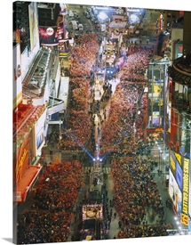 High angle view of crowd on the street celebrating New Years Eve, Times Square, Manhattan, New York City, New York State