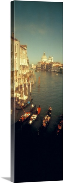 High angle view of gondolas in a canal, Grand Canal, Venice, Italy