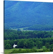High angle view of misty Cades Cove with church, Great Smoky Mountains National Park, Tennessee