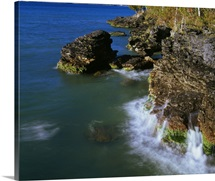 High angle view of rocky shoreline cliffs, Lake Michigan, Whitefish Dunes State Park, Wisconsin