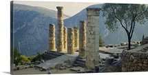 High angle view of ruined columns, Temple Of Apollo, Delphi, Greece