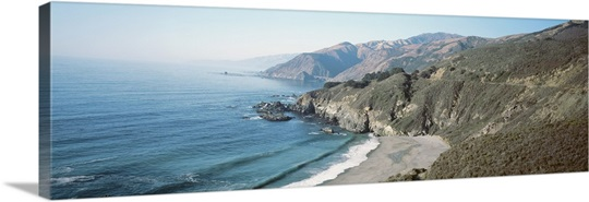 High angle view of the beach, Big Sur, Monterey, California
