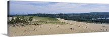 High angle view of tourists climbing sand dunes, Sleeping Bear Dunes National Lakeshore, Michigan
