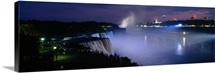 High angle view of waterfalls at night, American Falls, Niagara Falls, New York State