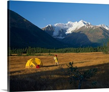 Hiker leaves tent campsite to explore Glacier Valley, Alaska