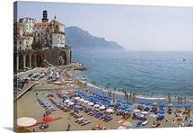 Houses on the sea coast, Amalfi Coast, Atrani, Salerno, Campania, Italy