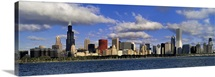Illinois, Chicago, Panoramic view of an urban skyline by the shore
