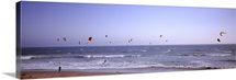 Kite surfers over the sea, Waddell Beach, Waddell Creek, Santa Cruz County, California,