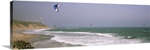 Kite surfers over the sea, Waddell Beach, Waddell Creek, Santa Cruz County, California