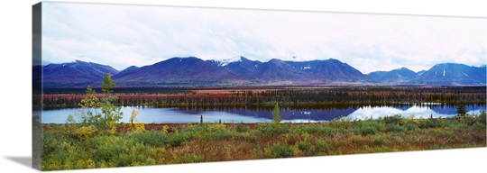 Lake with a mountain range in the background, Mt McKinley, Denali National Park, Anchorage, Alaska