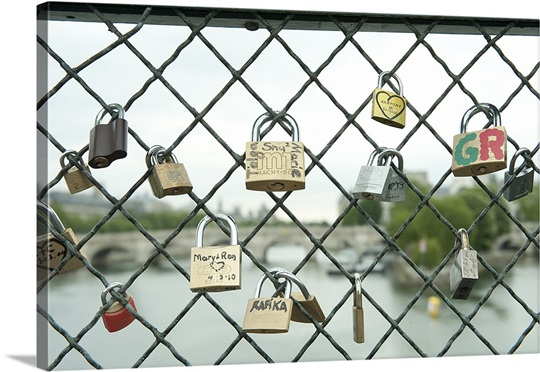 Love locks on a fence, Paris, Ile de France, France