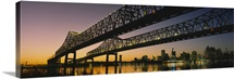 Low angle view of a bridge across a river, New Orleans, Louisiana