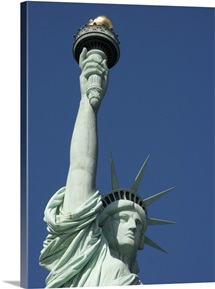 Low angle view of a statue, Statue Of Liberty, Liberty Island, New York Harbor, New York City, New York State,