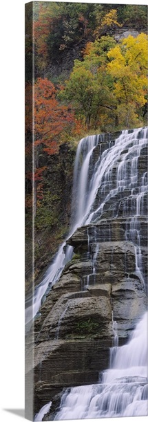 Low angle view of a waterfall, Ithaca Falls, Tompkins County, Ithaca, New York