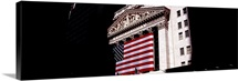 Low angle view of an American flag on a financial building, New York Stock Exchange, Wall Street, Manhattan, New York City, New York State