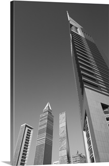 Low angle view of Emirates Towers, Sheikh Zayed Road, Dubai, United Arab Emirates