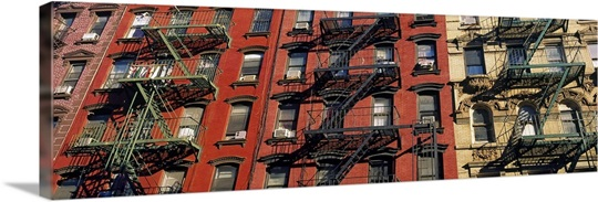 Low angle view of fire escapes on buildings, Little Italy, Manhattan, New York City, New York State