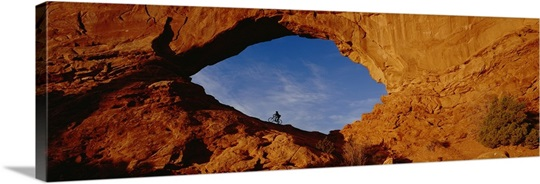Low angle view of person mountain biking, Utah
