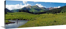 Man fly-fishing in Slate River, Crested Butte, Gunnison County, Colorado