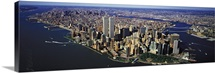 Manhattan from air with World Trade Center towers, New York City, New York State,